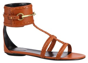Gucci Leather Orange Tan Sandals
