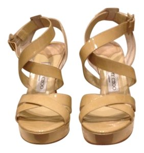 Jimmy Choo Vamp Sandals Nude Patent Leather Platforms
