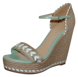 Gucci Leather Sandals Green Wedges
