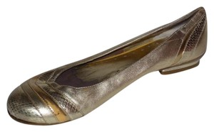 BCBGMAXAZRIA Dressy Or Casual Rounded Toe Excellent Condition Metallic Patchwork & textured gold and silver leather Flats