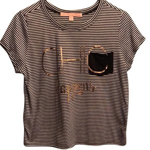 Rebellious One T Shirt Black & White Stripes with Gold Font