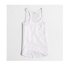 J.Crew Racer-back Top WHITE COTTON LINEN