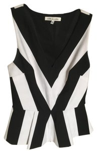 Robbi & Nikki by Robert Rodriguez #vneck #peplum #blackandwhite Top Black & White
