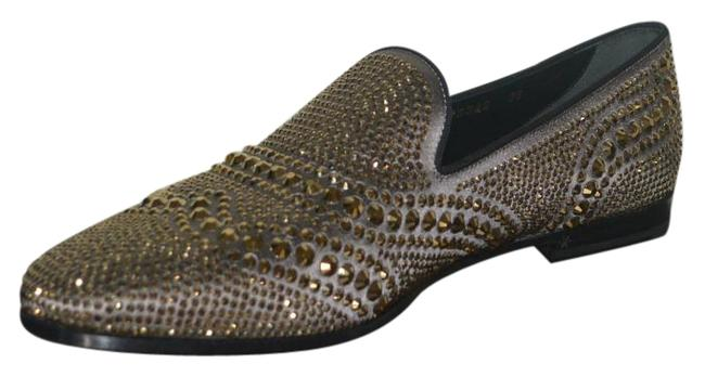 Item - Gold Womens Satin with Crystals Loafers Eu 38 Flats Size US 8 Regular (M, B)