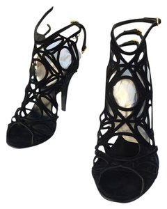Pierre Hardy Suede. Cut Out Lace Strappy Ties Gold Hardward 4 Inch Heel BLACK Pumps
