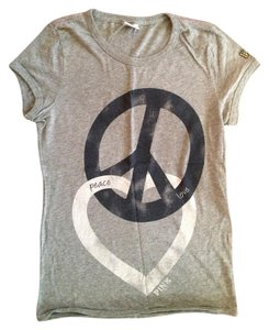 PINK Print Preppy T Shirt GRAY BLUE WHITE PEACE HEART