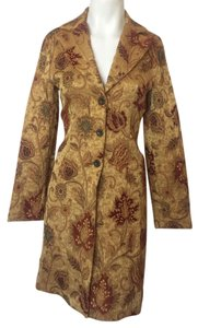 CAbi Gold Floral Burgundy Trench Coat