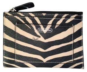 Coach COACH leather ID skinny in Black ZEBRA F50678 NEW WITH TAG