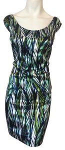 Maggy London Blue Green White Dress