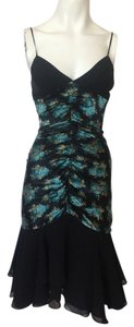 Betsey Johnson Floral Teal Black Dress
