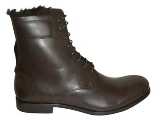 Saint Laurent Leather Studded Lace-up Almond Toe Block Heel Brown Boots