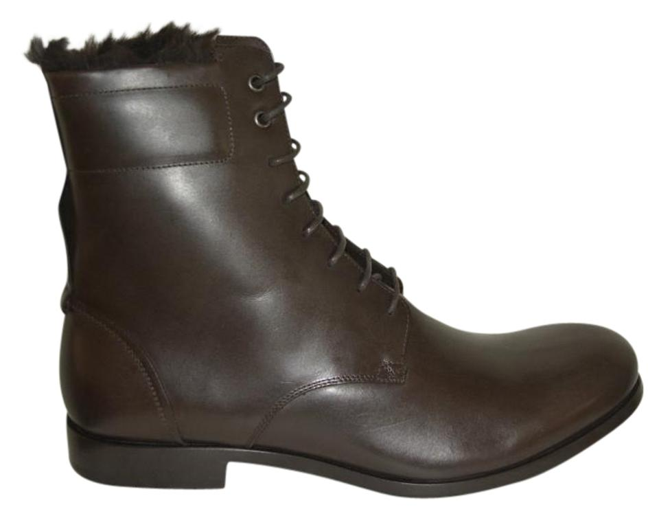 62308a4b380 Saint Laurent Leather Studded Lace-up Almond Toe Block Heel Brown Boots  Image 0 ...