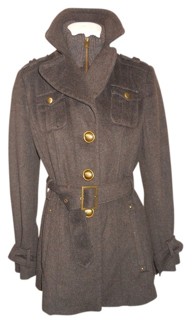 Item - Dark Brown S Military Inspired Belted Coat Size 4 (S)