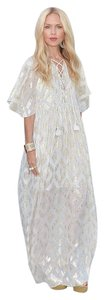 gold and ivory Maxi Dress by Rachel Zoe Metallic Kaftan Greican