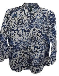 Ralph Lauren Button Down Print Button Down Shirt BLUE