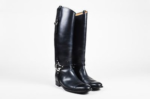 Gucci Silver Tone Leather New Charlotte Riding Black Boots