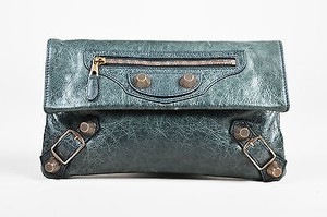 Balenciaga Distressed Leather Ghw Giant 21 Envelope Green Clutch