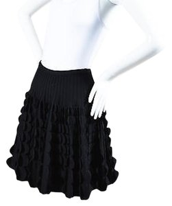 ALAÏA Alaia Wool Blend Scallop Paneled Flare A Line Skirt Black