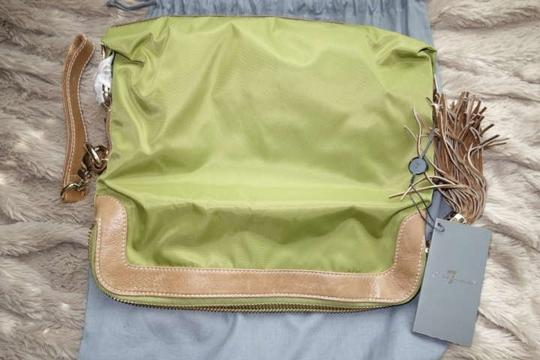 7 For All Mankind Designer Outting Party Butterfly Green with brown trimming Clutch