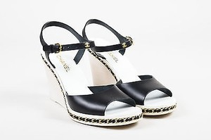 Chanel White Gold Tone Black Sandals
