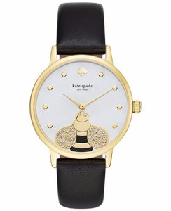 Kate Spade KSW1082 Bumblebee Gold tone Black Leather Band Watch