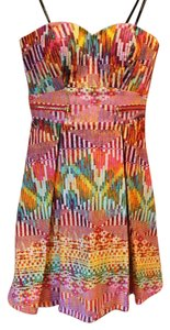 Guess short dress Multi-Colored Strapless Gold Zippers on Tradesy