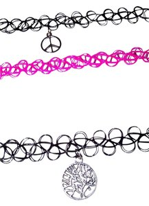 Other New 3 Chokers Black Hot Pink Peace Sign Charm 90s