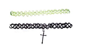 Other New 3 Chokers Black Lime Green Beaded Braided Cross 90s