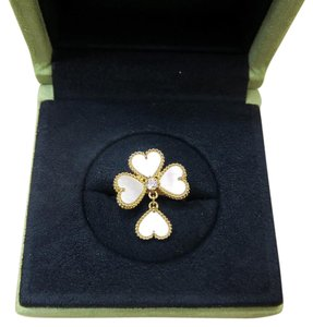 Van Cleef & Arpels Like New Diamond Sweet Alhambra Effeuillage Gold 52# Ring