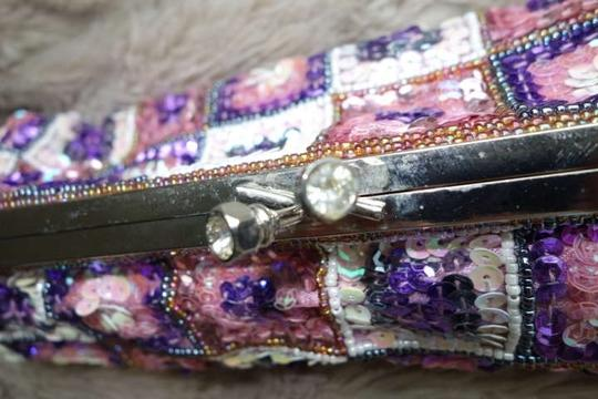 Other Pink MultiColor Beaded Kisslock Clutch or Crossbody Handbag