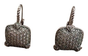 Judith Ripka Lever back silver earrings with crystals