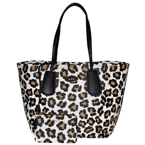 Coach Leopard Animal Print Pebbled Leather Oversized Tote in Multicolor
