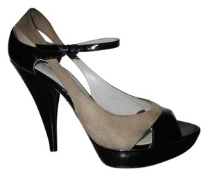 Via Spiga Patent Leather Suede Open Toe black & taupe Platforms