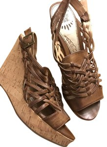 Hot Kiss Comfy Brown Wedges