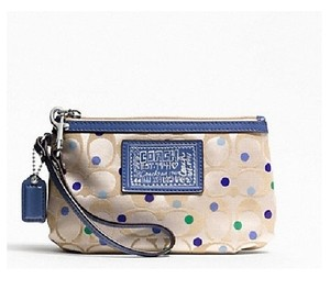 Coach Poppy Daisy Wristlet in Khaki/Periwinkle/Green/Blue