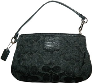 Coach Rare Sexy Black Large Embossed Black Wristlet in Black/Silver