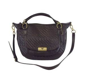 Coach Brown Woven Leather Cross Body Bag