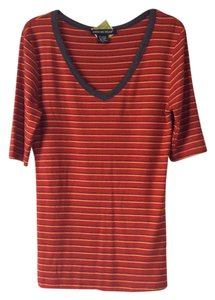 American Dream T Shirt Burnt orange with stripes