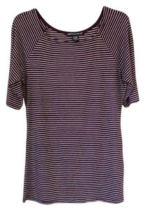 American Dream T Shirt Plum with white stripes