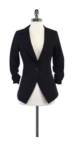 Elizabeth and James Black Gathered Sleeves Blazer