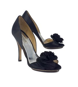 Badgley Mischka Black Satin Peep Toe Heels Pumps