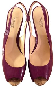 Preview International Retro Vintage Pinup Cork Date Night Plum Pumps
