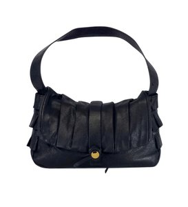 Mayle Black Leather Pleated Ruffled Purse Hobo Bag