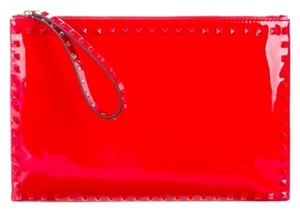 Valentino Rockstud Studded Leather Red Clutch