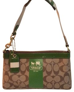 Coach Satchel in Kelly Green, Brown, Tan