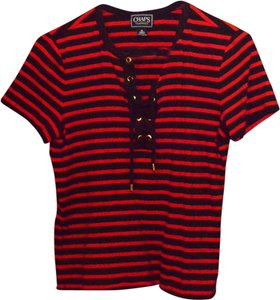 Chaps T Shirt Red with drk blue stripes