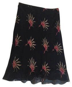Max Studio Silk Florals Skirt Black and Red