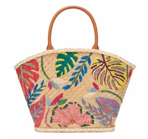 Tory Burch Embroidered Straw Beach Tote in Natural