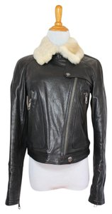 Burberry Leather Shearling Fur Moto Motorcycle Jacket