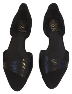 Vince Camuto D'orsay Pointed Toe Pointy Textured Black Flats